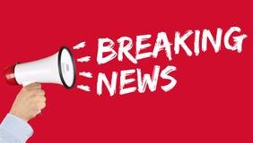 El aviso de los medios de noticias de última hora anuncia el megáfono de la información imágenes de archivo libres de regalías