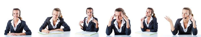 El ayudante del centro de atención telefónica que responde a las llamadas Imagen de archivo