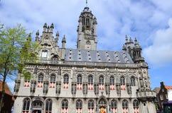 El ayuntamiento tarde-gótico de Middelburg, Países Bajos Imagen de archivo