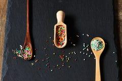 El azúcar asperja puntos Fotos de archivo