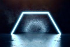 El azul aligera el fondo del hexágono y de la pared del grunge stock de ilustración
