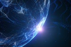 El azul coloreó el globo abstracto de la red con la llamarada de la luz Imagenes de archivo