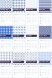 El azul de la grosella negra y del aciano coloreó el calendario geométrico 2016 de los modelos Libre Illustration