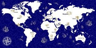 El azul del mapa Fotos de archivo libres de regalías