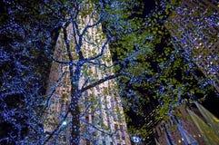 El azul enciende el centro de Rockefeller Imagen de archivo