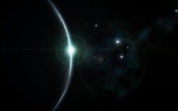 El azul frío de la salida del sol del universo coloreó Imágenes de archivo libres de regalías