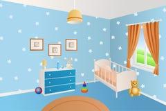 El azul interior moderno del sitio del bebé juega el ejemplo blanco de la ventana de la cama Fotos de archivo