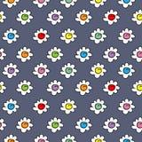 El azul oscuro de la materia textil coloreó el fondo inconsútil elegante del vector con las flores de la manzanilla, pequeñas flo stock de ilustración