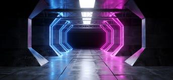 El azul púrpura llevado lujoso luminoso fluorescente de neón del laser de la nave espacial futurista enciende el pasillo concreto stock de ilustración