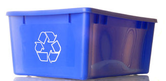 El azul recicla el compartimiento Fotos de archivo libres de regalías