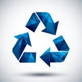 El azul recicla el icono geométrico hecho en el estilo moderno 3d, mejor para nosotros Imagen de archivo libre de regalías