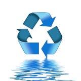 El azul recicla símbolo Fotografía de archivo libre de regalías