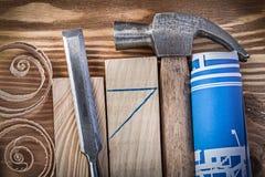 El azul rodó el woode de un cincel más firme del martillo de garra del dibujo de construcción Imagen de archivo libre de regalías