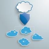 El azul se nubla el escudo Infographic de la protección Fotos de archivo libres de regalías