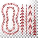 El béisbol cose vector Cordón de un béisbol aislado en transparente Cordones rojos de la bola de los deportes fijados Imagen de archivo