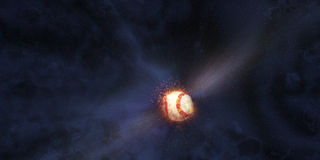 El béisbol golpeó en espacio Fotografía de archivo libre de regalías