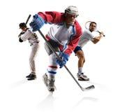 El béisbol multi del hockey sobre hielo del collage de los deportes tennisisolated en blanco imagen de archivo libre de regalías