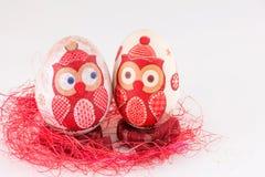 El búho adornó los huevos de Pascua Imagen de archivo libre de regalías