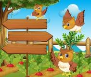 El búho y de madera firma adentro el huerto libre illustration