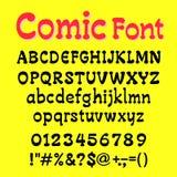 El backgrond del yelow del alfabeto y del número de Cartoot de la fuente vector illus Fotografía de archivo