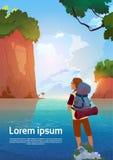 El Backpacker del hombre disfruta de la visión en viajero del lago mountains en concepto de las vacaciones de la aventura del ver stock de ilustración