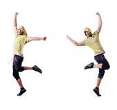 El bailarín muscular aislado en blanco fotos de archivo