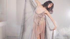 El bailar?n de ballet flexible que estiraba en la oscuridad encendi? el estudio almacen de metraje de vídeo