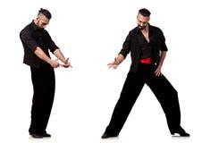 El bailarín español en diversas actitudes en blanco Imágenes de archivo libres de regalías