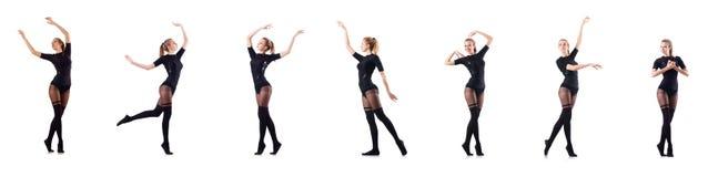 El baile de la mujer aislado en el blanco Fotografía de archivo libre de regalías