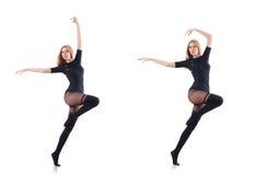 El baile de la mujer aislado en el blanco Fotos de archivo libres de regalías