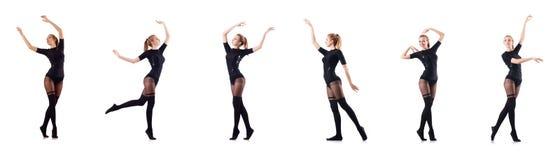 El baile de la mujer aislado en el blanco Imágenes de archivo libres de regalías