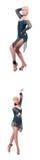 El baile de la mujer aislado en el blanco Imagen de archivo libre de regalías