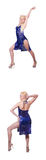 El baile de la mujer aislado en el blanco Imagen de archivo