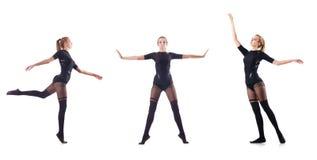 El baile de la mujer joven en el fondo blanco Imagenes de archivo