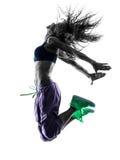 El baile del bailarín del zumba de la mujer ejercita la silueta Imágenes de archivo libres de regalías