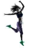 El baile del bailarín del zumba de la mujer ejercita la silueta Fotografía de archivo libre de regalías