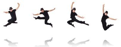El baile del bailarín en el blanco imagenes de archivo