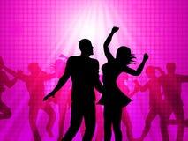 El baile del disco significa celebraciones y la diversión de los partidos ilustración del vector