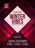 El baile, DJ lucha diseño del cartel Partido de disco del invierno Aviador del evento de la música Foto de archivo libre de regalías