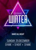 El baile, DJ lucha diseño del cartel Partido de disco del invierno Aviador del evento de la música o plantilla del ejemplo de la  Fotos de archivo libres de regalías