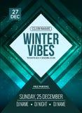 El baile, DJ lucha diseño del cartel Partido de disco del invierno Aviador del evento de la música o plantilla del ejemplo de la  Foto de archivo libre de regalías