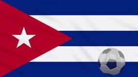 El balón el agitar y de fútbol de la bandera de Cuba gira, lazo almacen de video