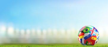 El balón de fútbol con las banderas diseña en la representación del estadio de fútbol 3d libre illustration