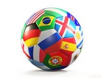 El balón de fútbol con las banderas diseña la representación 3d aislada stock de ilustración