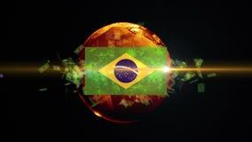 El balón de fútbol del Brasil da vuelta en el mundo stock de ilustración