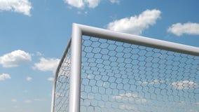 El balón de fútbol vuela en la meta ilustración del vector