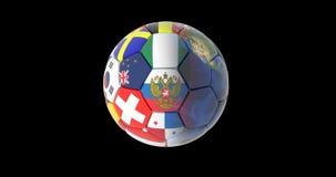 El balón de fútbol y los continentes del planeta conectan a tierra la rotación en un fondo negro mapas y texturas proporcionados  stock de ilustración