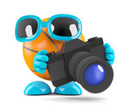 el baloncesto 3d toma las fotos con una cámara Foto de archivo