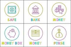 El bancario en línea servicio plantillas lineares de los iconos stock de ilustración