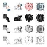 El banco, el banquero, las cualidades y el otro icono del web en estilo de la historieta Ciérrese, la caja fuerte, iconos de la s Imagen de archivo